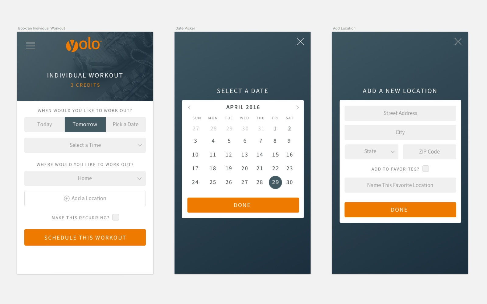 Booking flow mockups for the mobile web app