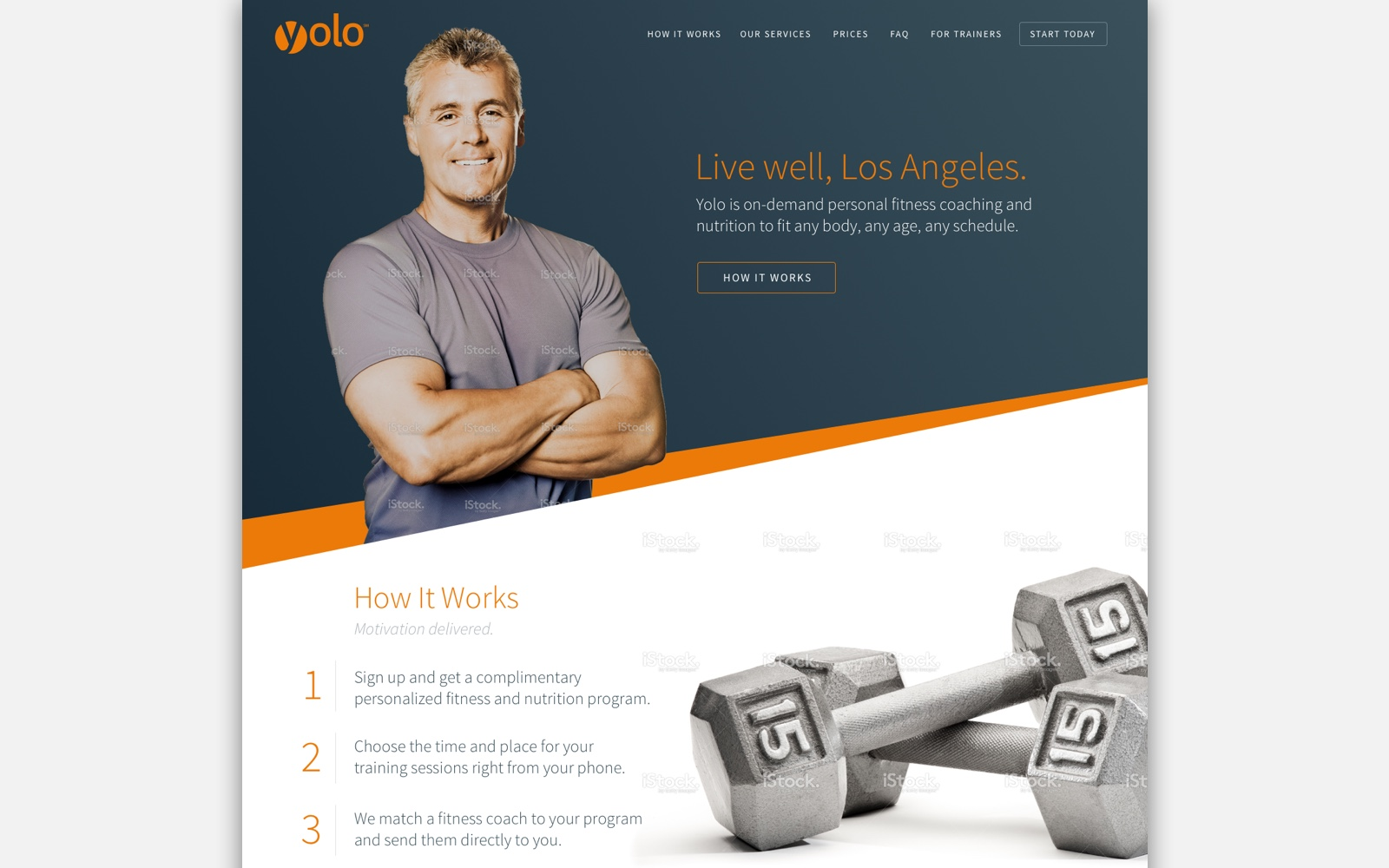 A homepage concept for the Yolo Fitness marketing site