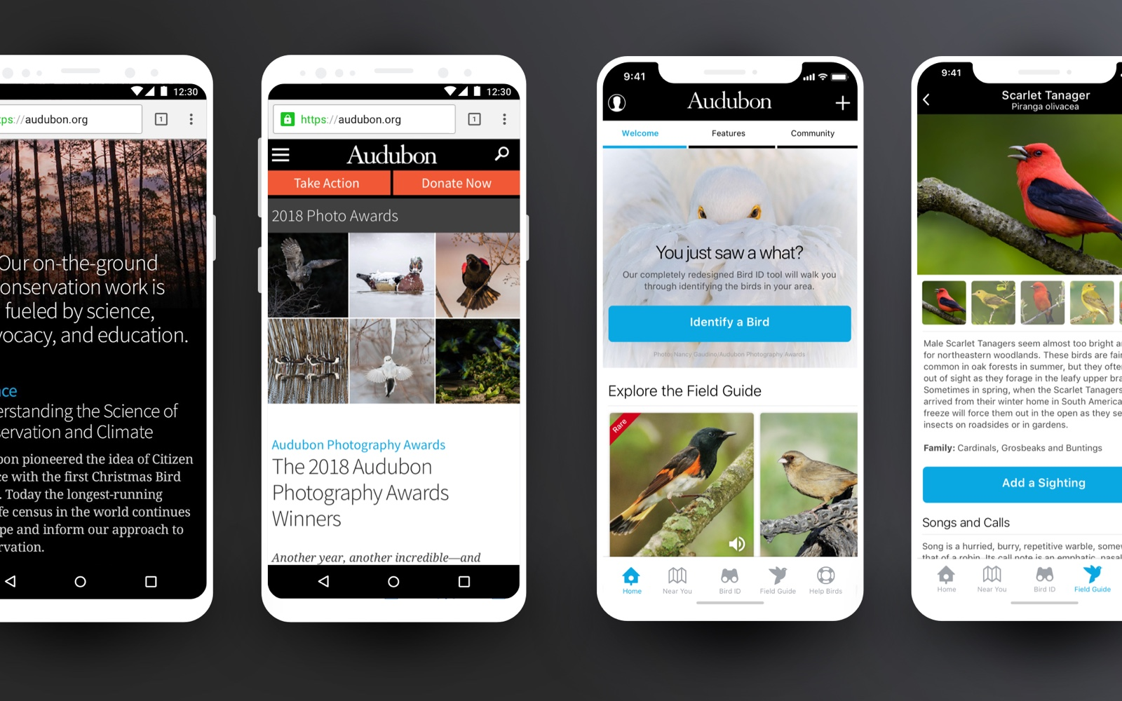 Mobile web and iOS app screens