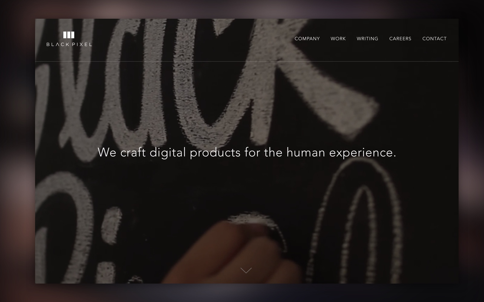 A simple clean homepage married motion with a simple message