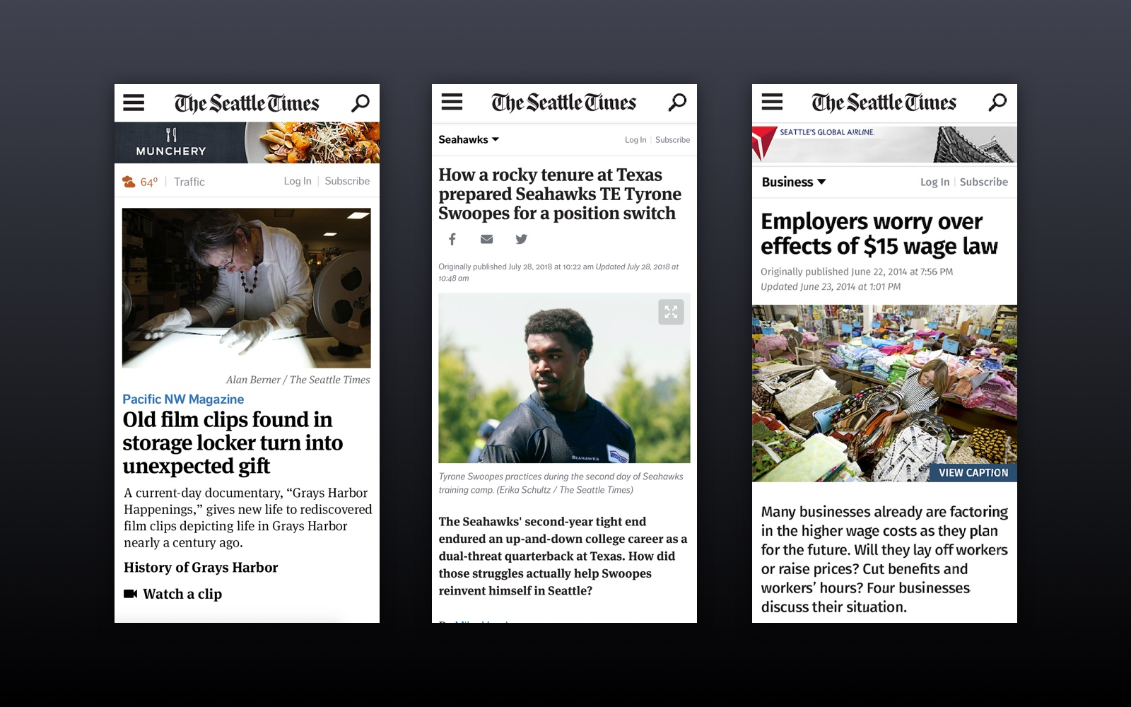 Responsive web examples of the Seattle Times viewed in a mobile browser
