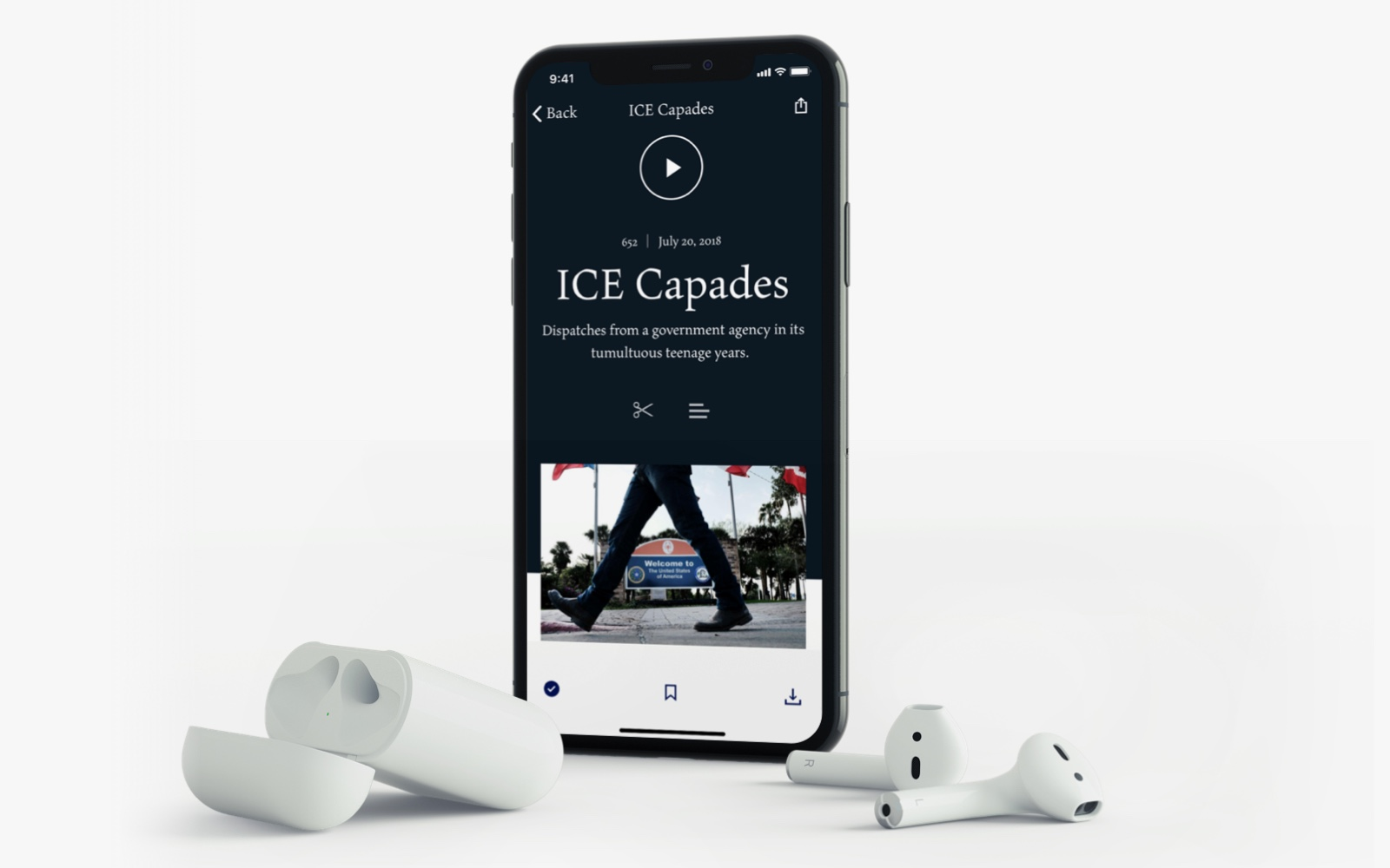 An example of the custom audio player view on iPhone X