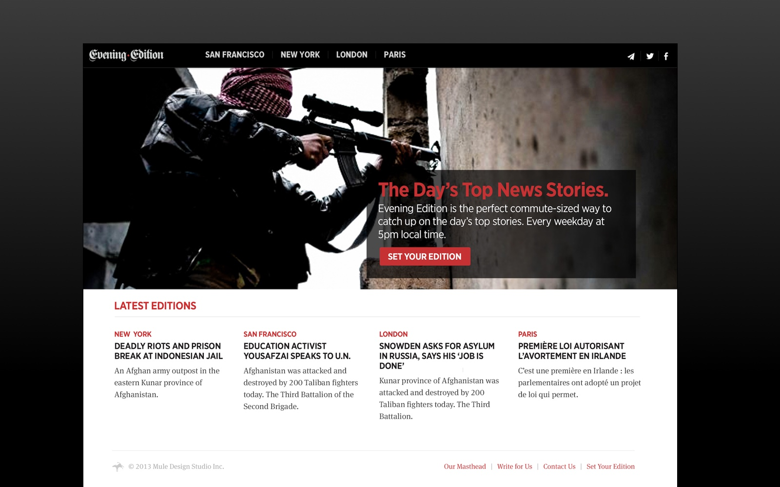 An alternate homepage exploration for the Evening Edition website