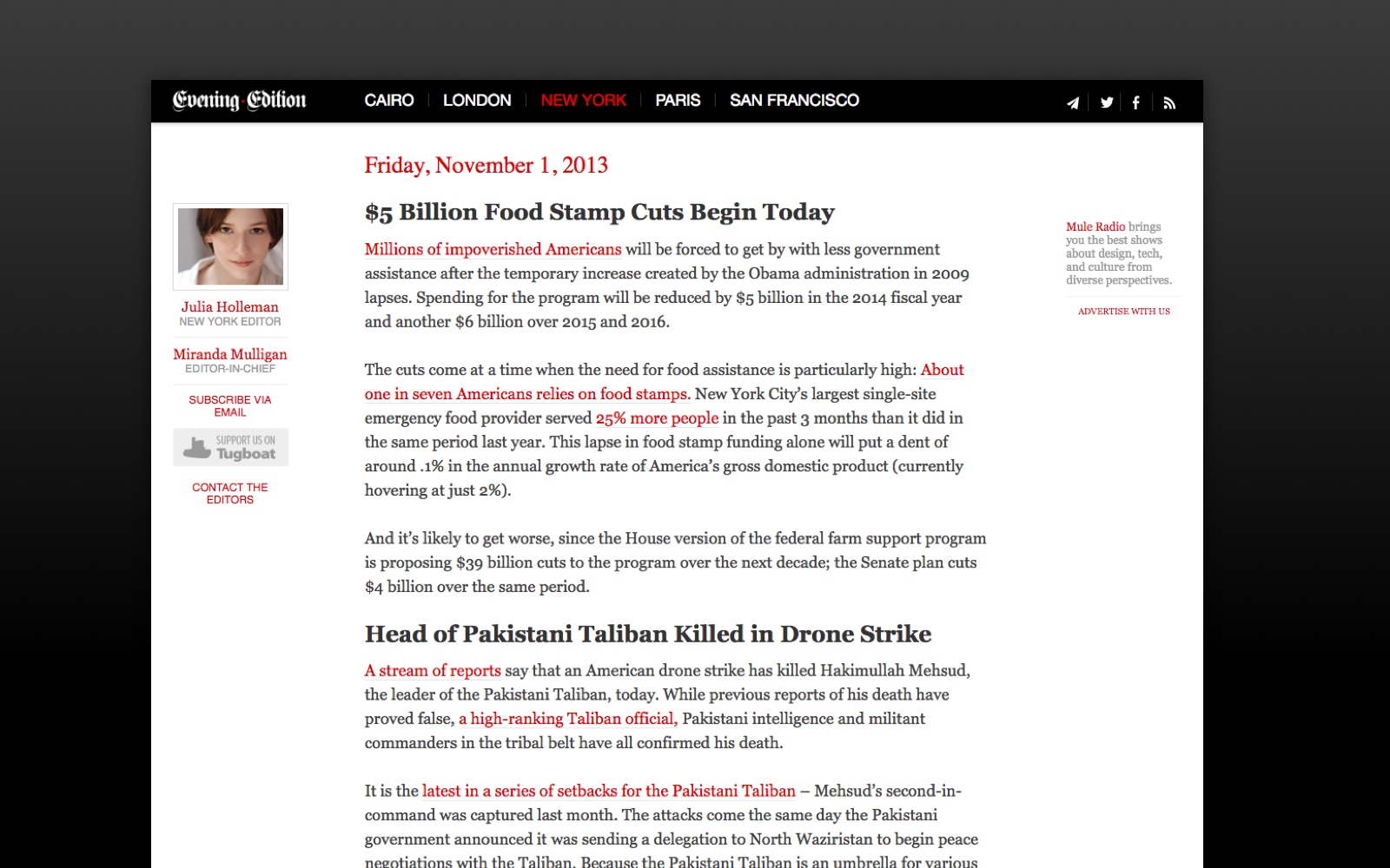 An example of an individual daily edition on the web